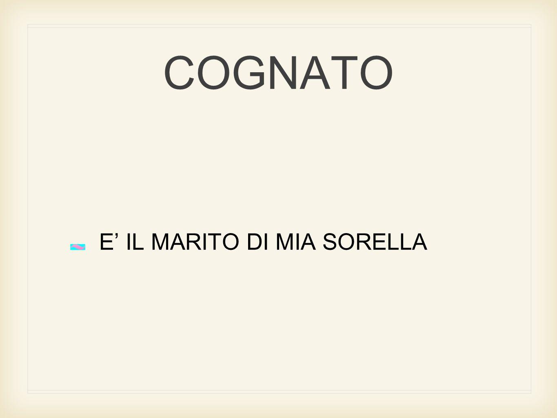 COGNATO E' IL MARITO DI MIA SORELLA