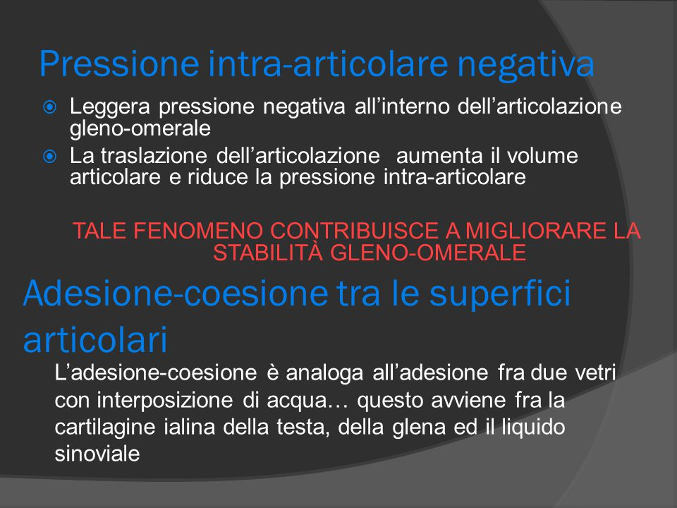 Pressione intra-articolare negativa  Leggera pressione negativa all'interno dell'articolazione gleno-omerale  La traslazione dell'articolazione aume