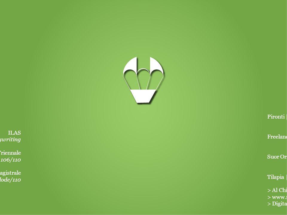ILAS Corso di copywriting Suor Orsola Benincasa | Triennale Scienze della comunicazione – 106/110 Suor Orsola Benincasa | Magistrale Comunicazione pubblica e d'impresa – 110 e lode/110 Pironti | Libraio Freelance | Copywriter & pubblicitario per brand nazionali Suor Orsola Benincasa | Tutor Tilapia | Copywriter & social media strategist > Al Chiar di Luna | Responsabile comunicazione > www.nuok.it | Blogger > Digitalici lab | Copywriter & project manager EducazioneEsperienze