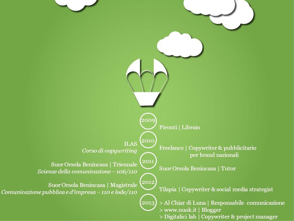 ILAS Corso di copywriting Suor Orsola Benincasa | Triennale Scienze della comunicazione – 106/110 Suor Orsola Benincasa | Magistrale Comunicazione pubblica e d'impresa – 110 e lode/110 Pironti | Libraio Freelance | Copywriter & pubblicitario per brand nazionali Suor Orsola Benincasa | Tutor Tilapia | Copywriter & social media strategist > Al Chiar di Luna | Responsabile comunicazione > www.nuok.it | Blogger > Digitalici lab | Copywriter & project manager 2009 2010 2011 2012 2013