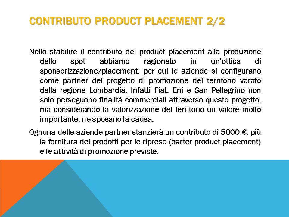 CONTRIBUTO PRODUCT PLACEMENT 2/2 Nello stabilire il contributo del product placement alla produzione dello spot abbiamo ragionato in un'ottica di sponsorizzazione/placement, per cui le aziende si configurano come partner del progetto di promozione del territorio varato dalla regione Lombardia.