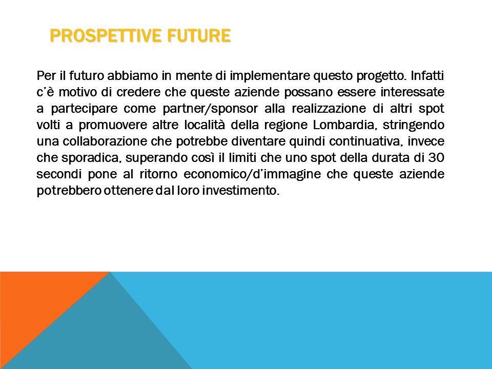 PROSPETTIVE FUTURE Per il futuro abbiamo in mente di implementare questo progetto.