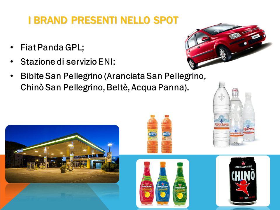 I BRAND PRESENTI NELLO SPOT Fiat Panda GPL; Stazione di servizio ENI; Bibite San Pellegrino (Aranciata San Pellegrino, Chinò San Pellegrino, Beltè, Acqua Panna).