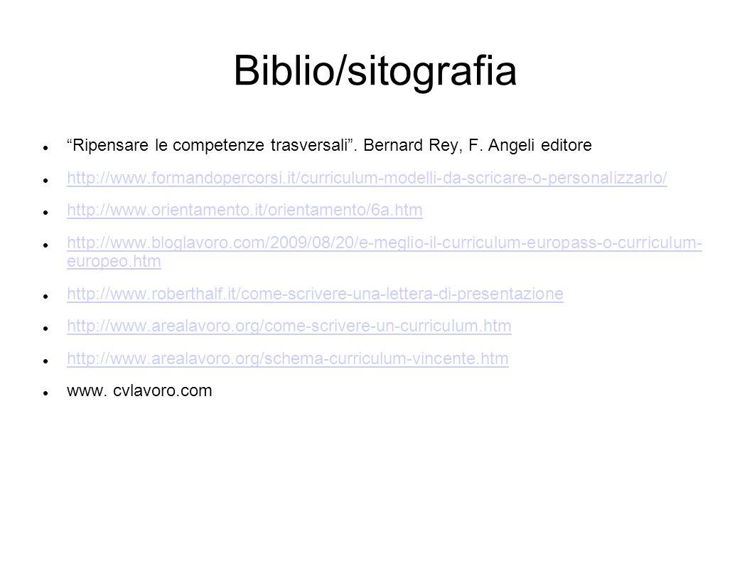 Biblio/sitografia Ripensare le competenze trasversali .
