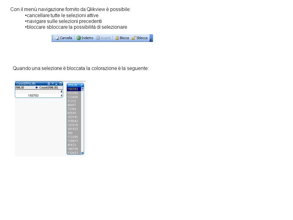Con il menù navigazione fornito da Qlikview è possibile: cancellare tutte le selezioni attive navigare sulle selezioni precedenti bloccare sbloccare l