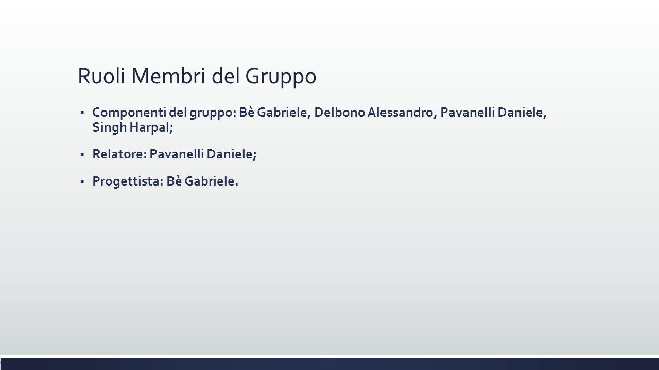 Ruoli Membri del Gruppo  Componenti del gruppo: Bè Gabriele, Delbono Alessandro, Pavanelli Daniele, Singh Harpal;  Relatore: Pavanelli Daniele;  Pr