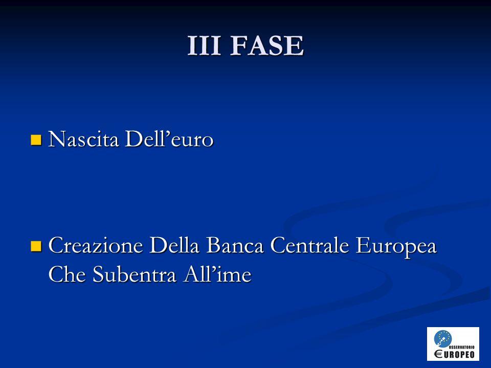 III FASE Nascita Dell'euro Nascita Dell'euro Creazione Della Banca Centrale Europea Che Subentra All'ime Creazione Della Banca Centrale Europea Che Subentra All'ime