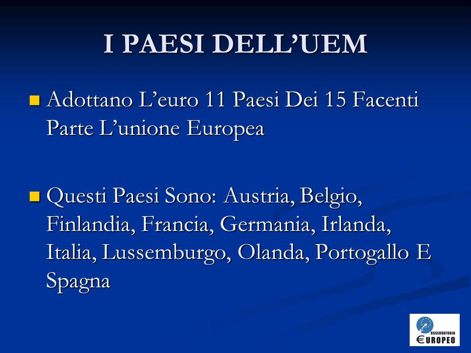 I PAESI DELL'UEM Adottano L'euro 11 Paesi Dei 15 Facenti Parte L'unione Europea Adottano L'euro 11 Paesi Dei 15 Facenti Parte L'unione Europea Questi Paesi Sono: Austria, Belgio, Finlandia, Francia, Germania, Irlanda, Italia, Lussemburgo, Olanda, Portogallo E Spagna Questi Paesi Sono: Austria, Belgio, Finlandia, Francia, Germania, Irlanda, Italia, Lussemburgo, Olanda, Portogallo E Spagna