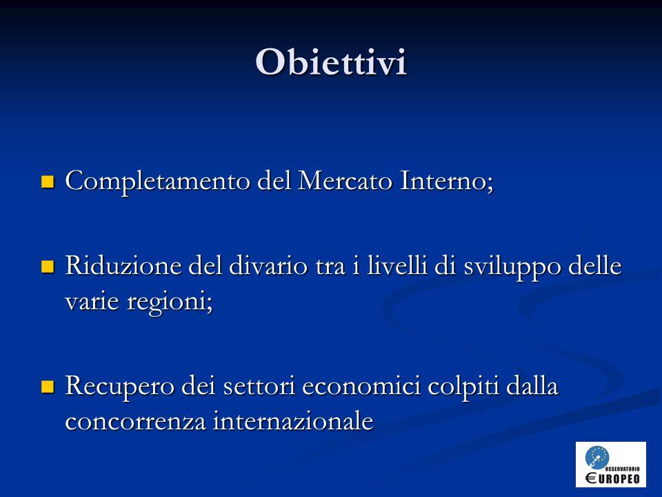 Obiettivi Completamento del Mercato Interno; Completamento del Mercato Interno; Riduzione del divario tra i livelli di sviluppo delle varie regioni; Riduzione del divario tra i livelli di sviluppo delle varie regioni; Recupero dei settori economici colpiti dalla concorrenza internazionale Recupero dei settori economici colpiti dalla concorrenza internazionale