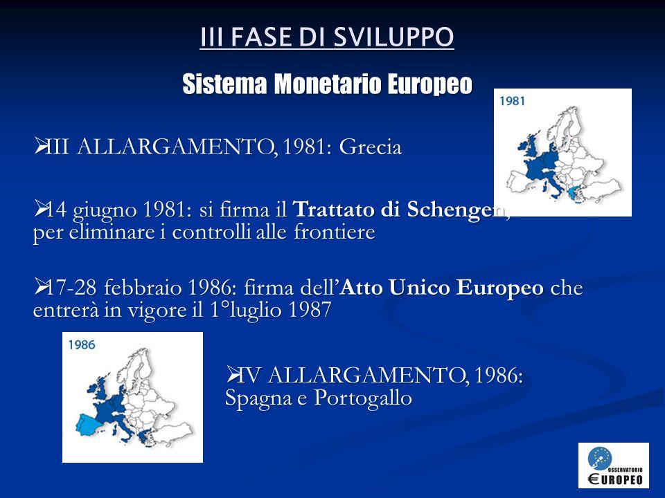 IV FASE DI SVILUPPO Avvicinamento all'UEM  V ALLARGAMENTO, 1990: Germania unificata  7 febbraio 1992: Trattato di Maastricht sull'Unione Europea  1°gennaio 1993: nasce il Mercato Unico  VI ALLARGAMENTO, 1995: Austria, Finlandia, Svezia