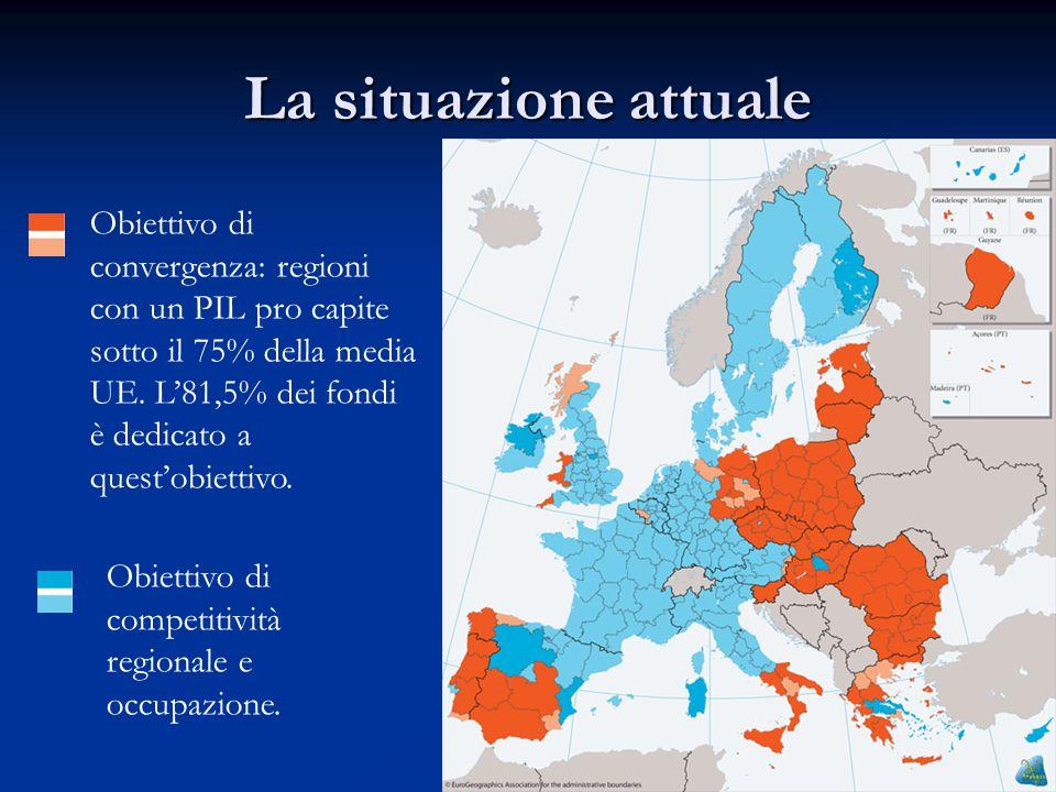 La situazione attuale Obiettivo di convergenza: regioni con un PIL pro capite sotto il 75% della media UE.