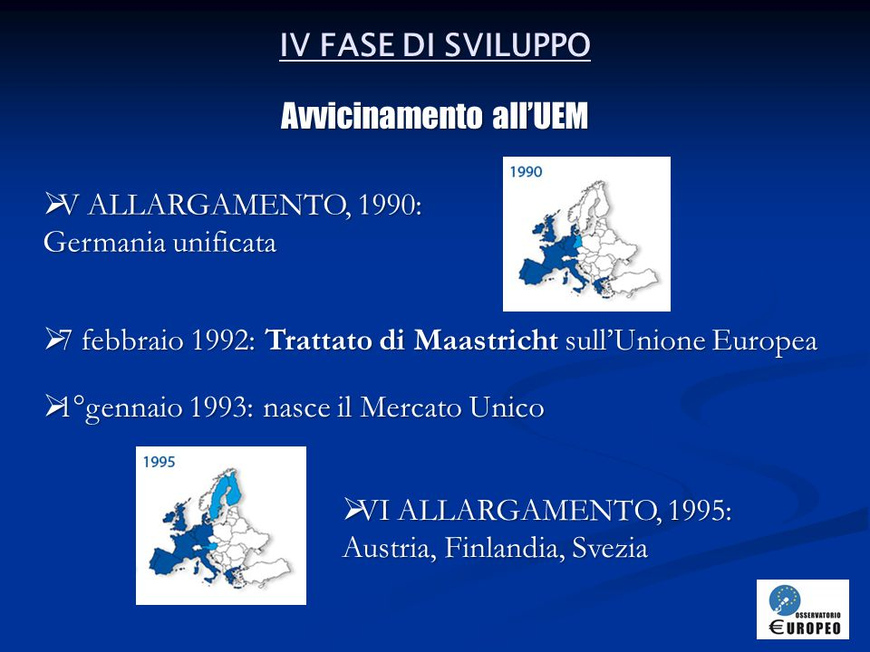 V FASE DI SVILUPPO 1/2 Dall'UEM ad oggi  1°gennaio 1999: l'euro diviene la moneta ufficiale dell'Unione e comincia ad operare la Banca Centrale Europea  26 febbraio 2001: firma del Trattato di Nizza  1° febbraio 2002: entra in circolazione l'Euro