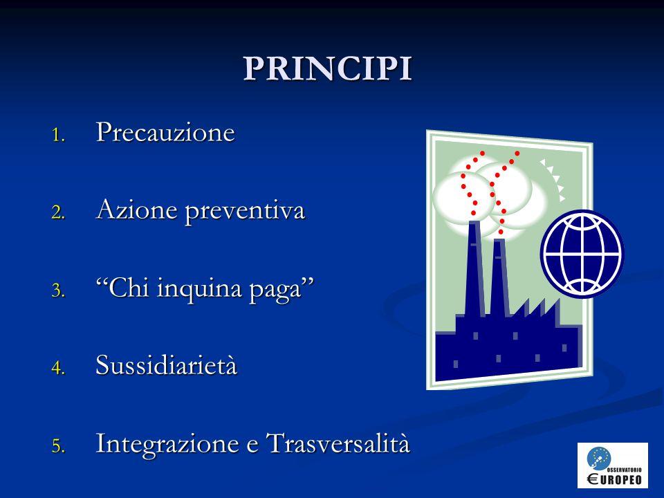 PRINCIPI 1.Precauzione 2. Azione preventiva 3. Chi inquina paga 4.
