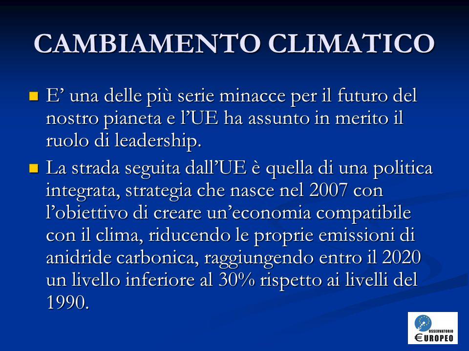 CAMBIAMENTO CLIMATICO E' una delle più serie minacce per il futuro del nostro pianeta e l'UE ha assunto in merito il ruolo di leadership.