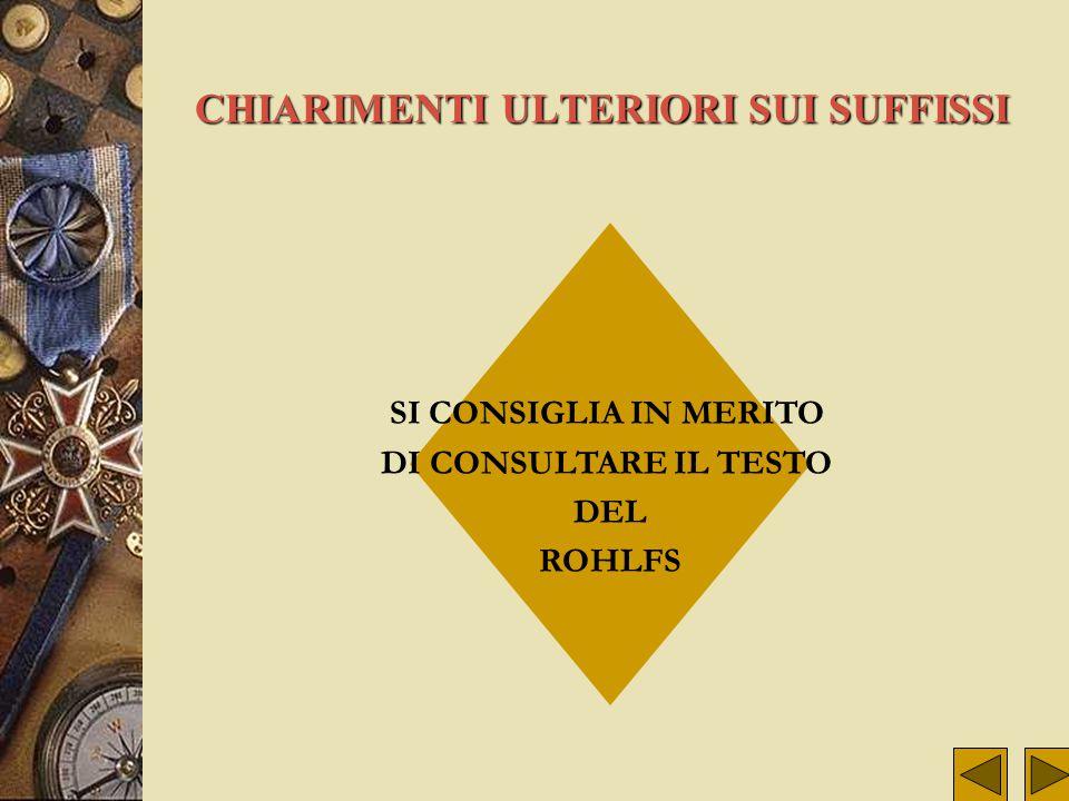 ALTRI COGNOMI A PARTIRE DA BARATTA RIFLESSIONE SUI SUFFISSI SUFFISSI PIU' IMPORTANTI 1) -IERE 2) -ORE 3) -INO 4) -UCCI 5) -ONI SIGNIFICATI 1) Il suffi