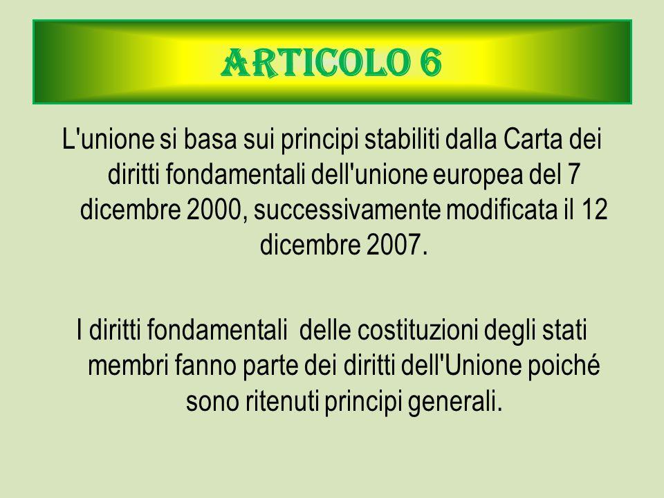 Articolo 6 L'unione si basa sui principi stabiliti dalla Carta dei diritti fondamentali dell'unione europea del 7 dicembre 2000, successivamente modif
