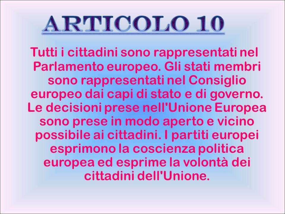 Tutti i cittadini sono rappresentati nel Parlamento europeo. Gli stati membri sono rappresentati nel Consiglio europeo dai capi di stato e di governo.