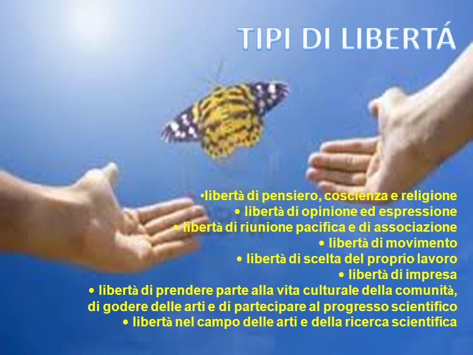 libert à di pensiero, coscienza e religione libert à di opinione ed espressione libert à di riunione pacifica e di associazione libert à di movimento