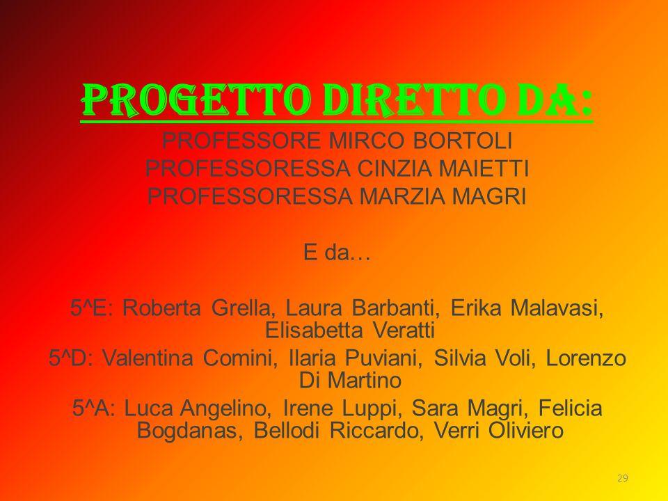 PROGETTO DIRETTO DA: PROFESSORE MIRCO BORTOLI PROFESSORESSA CINZIA MAIETTI PROFESSORESSA MARZIA MAGRI E da… 5^E: Roberta Grella, Laura Barbanti, Erika