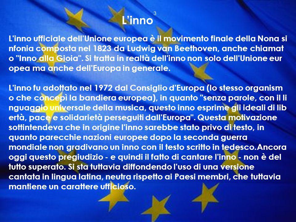 L'inno ufficiale dell'Unione europea è il movimento finale della Nona si nfonia composta nel 1823 da Ludwig van Beethoven, anche chiamat o