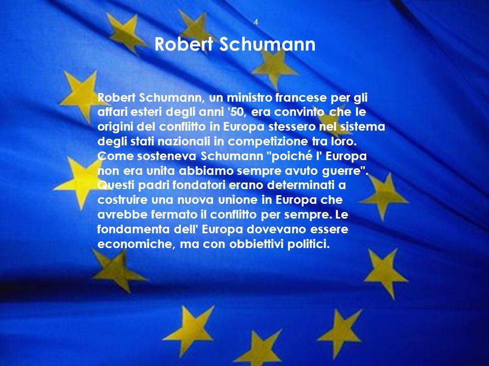 Robert Schumann, un ministro francese per gli affari esteri degli anni '50, era convinto che le origini del conflitto in Europa stessero nel sistema d