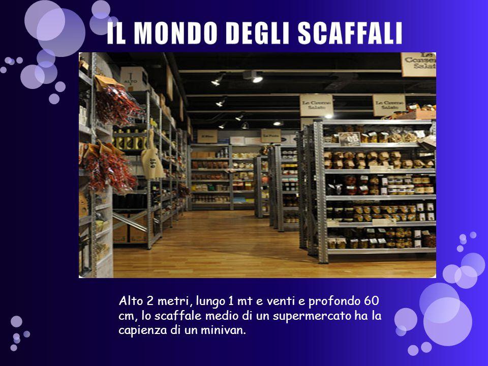 Alto 2 metri, lungo 1 mt e venti e profondo 60 cm, lo scaffale medio di un supermercato ha la capienza di un minivan.