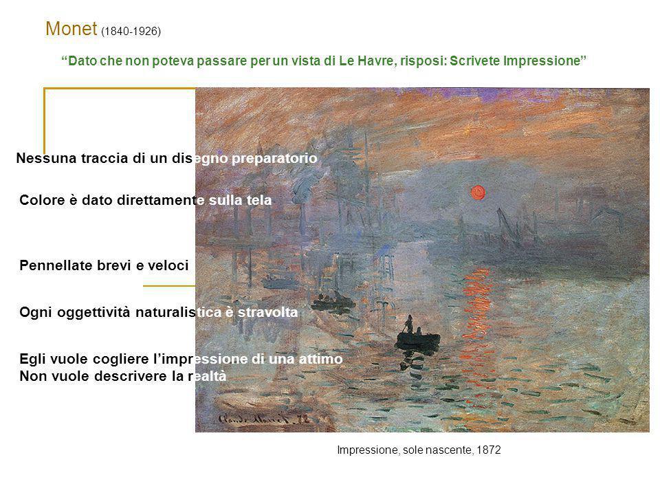 """Monet (1840-1926) Impressione, sole nascente, 1872 """"Dato che non poteva passare per un vista di Le Havre, risposi: Scrivete Impressione"""" Nessuna tracc"""