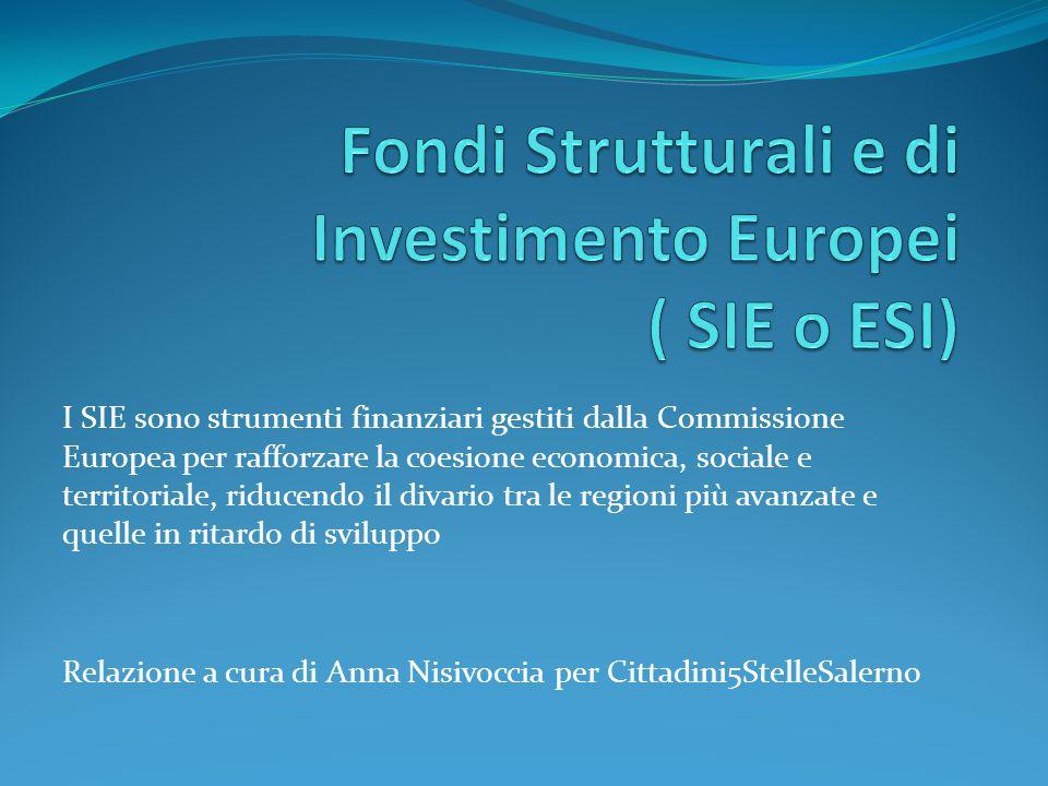 I SIE si suddividono in: FSE ( Fondo Sociale Europeo) FESR ( Fondo Europeo di Sviluppo Regionale) Fondo di Coesione FEASR ( Fondo Europeo Agricolo per lo Sviluppo Rurale) FEAMP ( Fondo Europeo per gli Affari Marittimi e la Pesca) Sulla Gazzetta Ufficiale dell'Unione Europea, serie L 347, del 20/12/2013 sono stati pubblicati i regolamenti sui SIE http://europa.formez.it/content/politica-coesione-2014-2020-nuovi-regolamenti-sui- fondi-strutturali-e-investimento-europei