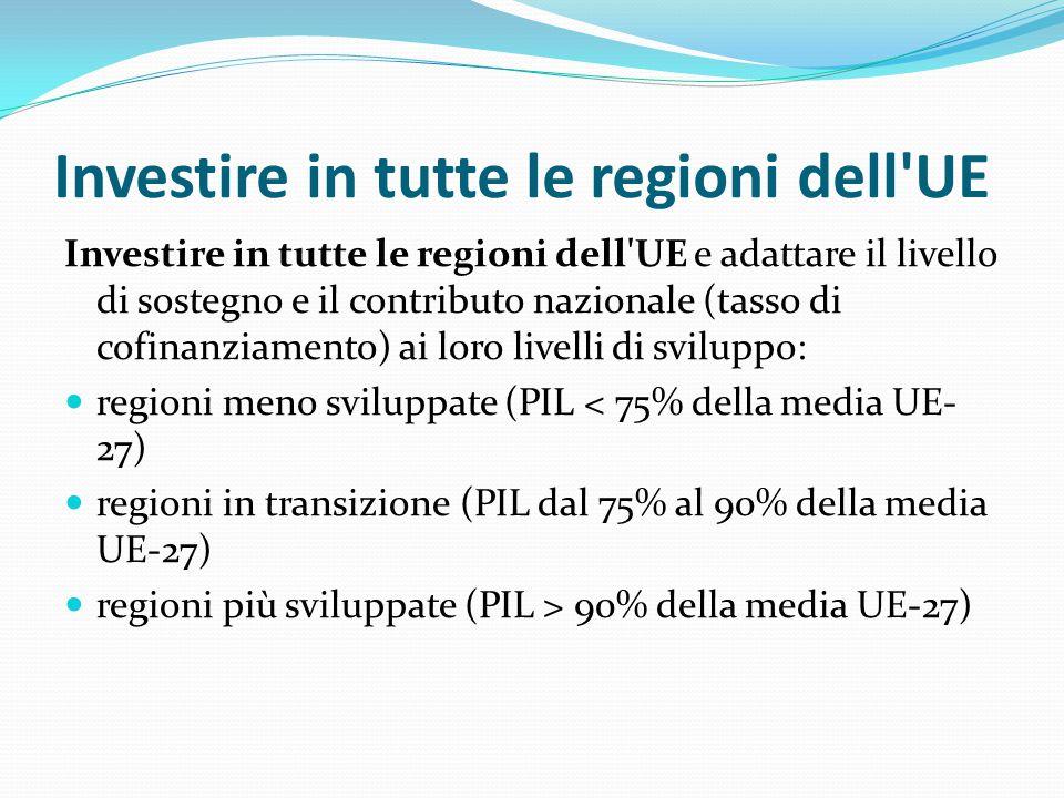 Investire in tutte le regioni dell'UE Investire in tutte le regioni dell'UE e adattare il livello di sostegno e il contributo nazionale (tasso di cofi