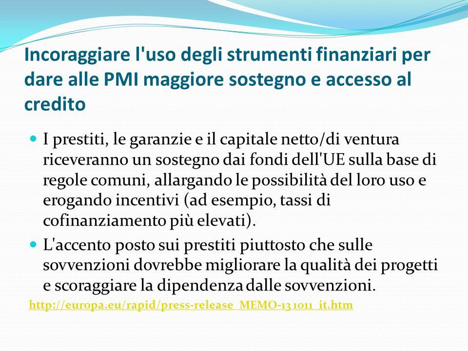Incoraggiare l'uso degli strumenti finanziari per dare alle PMI maggiore sostegno e accesso al credito I prestiti, le garanzie e il capitale netto/di