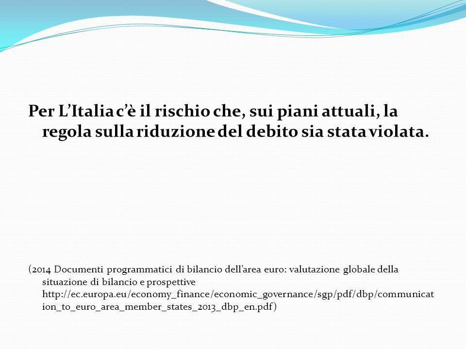Per L'Italia c'è il rischio che, sui piani attuali, la regola sulla riduzione del debito sia stata violata. (2014 Documenti programmatici di bilancio