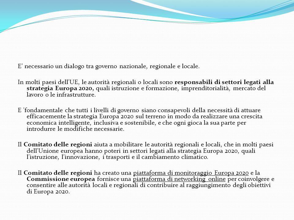 E' necessario un dialogo tra governo nazionale, regionale e locale. In molti paesi dell'UE, le autorità regionali o locali sono responsabili di settor