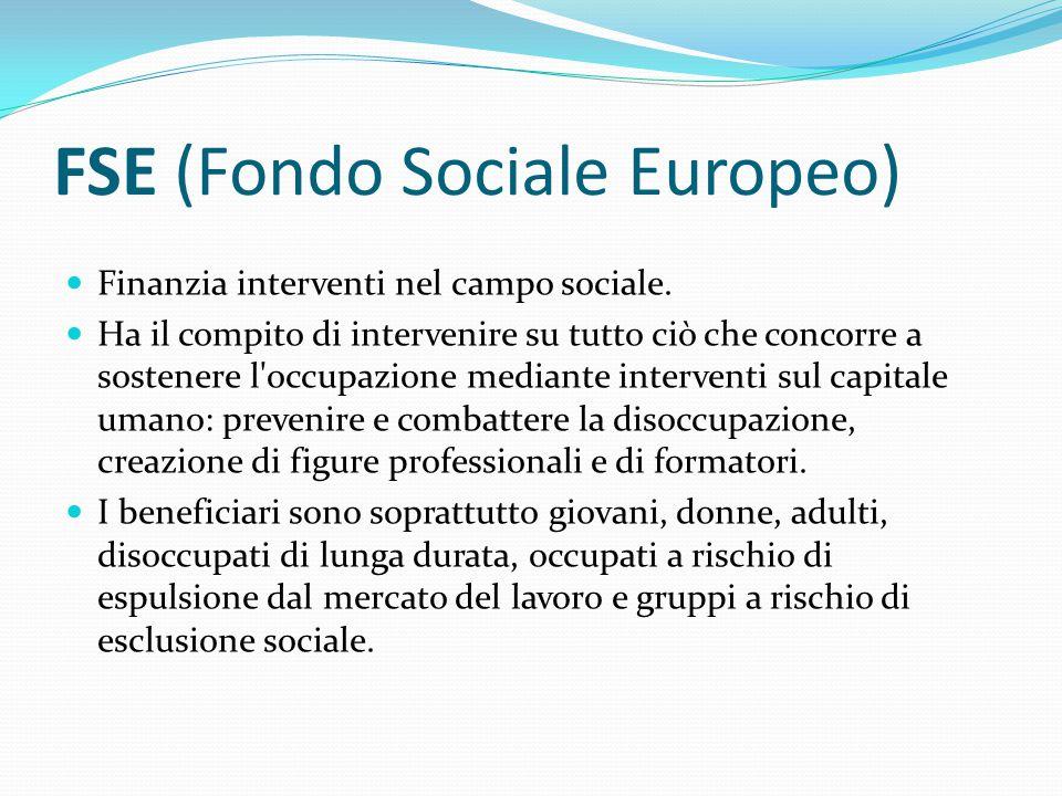 FSE (Fondo Sociale Europeo) Finanzia interventi nel campo sociale. Ha il compito di intervenire su tutto ciò che concorre a sostenere l'occupazione me
