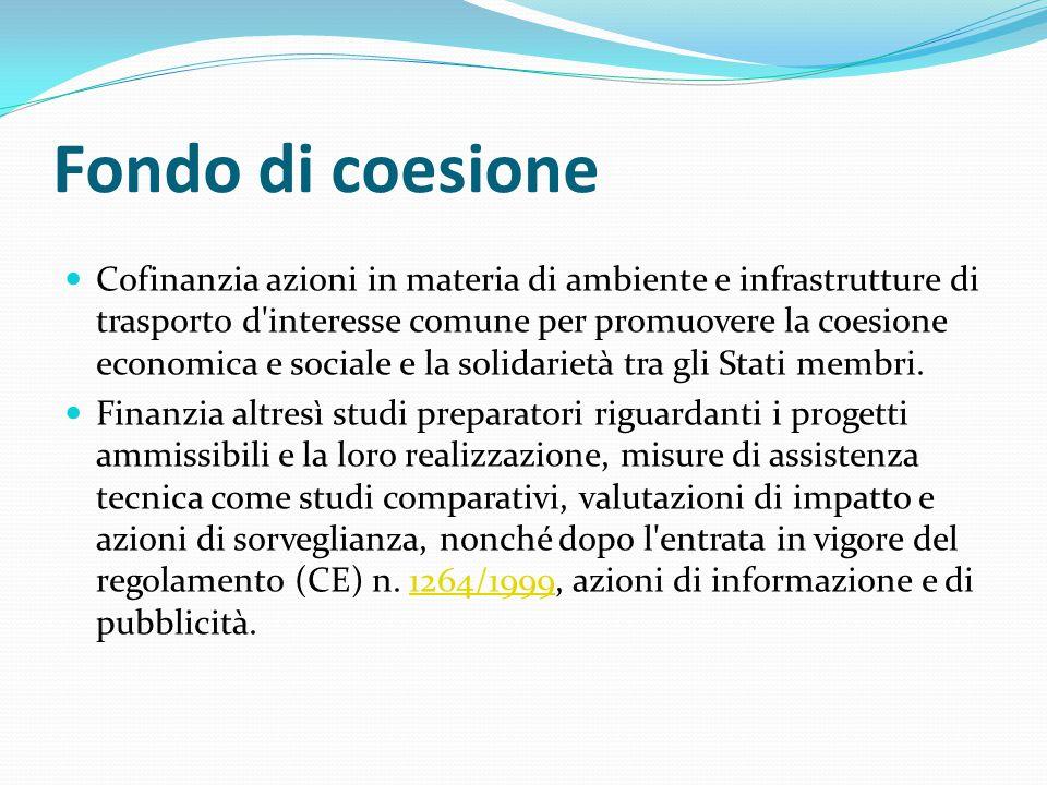 Fondo di coesione Cofinanzia azioni in materia di ambiente e infrastrutture di trasporto d'interesse comune per promuovere la coesione economica e soc