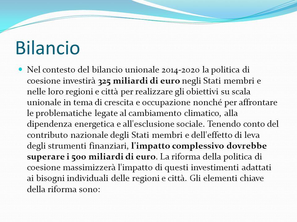 I Fondi Strutturali a disposizione dell'Italia per il prossimo settennato:Fondi Strutturali -per le regioni meno sviluppate: 22,324,600,000€ ( Calabria, Campania, Sicilia, Puglia) -per le regioni più sviluppate: 7,692,200,000€ -per le regioni in transizione: 1,102,000,000€ ( Abruzzo, Basilicata, Molise, Sardegna) -per la cooperazione territoriale europea, cooperazione transfrontaliera: 890,000,000€ -per l'occupazione giovanile ( dotazione supplementare): 567,500,000€ -per la cooperazione territoriale europea, cooperazione transnazionale: 246,700,000€ -FESR: 20,992,070,961€ -FSE: 6,960,542,469€ -FEASR: 10,4 mld -Fondo per gli indigenti: 659 mln -Fondo Sviluppo e Coesione: 55 mld ( di cui l'80% al Centro-Sud e 205 al Centro-Nord) -Cofinanziamento nazionale: 24 mld -Programmi Operativi Regionali pari al 30% del cofinanziamento complessivo https://cohesiondata.ec.europa.eu/country?country=Italy# https://cohesiondata.ec.europa.eu/ http://www.intelligenzasocial.com/fondi-strutturali-2014-2020-bozza-partenariato/