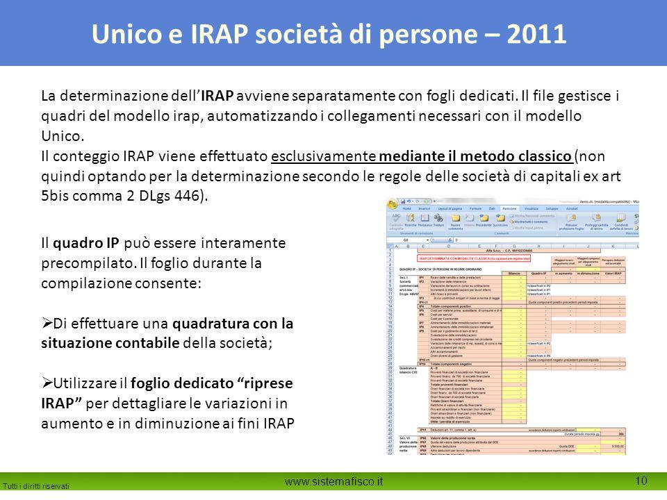 Tutti i diritti riservati www.sistemafisco.it 10 Unico e IRAP società di persone – 2011 La determinazione dell'IRAP avviene separatamente con fogli dedicati.