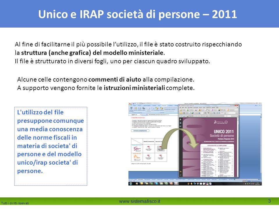 Tutti i diritti riservati www.sistemafisco.it 3 Unico e IRAP società di persone – 2011 Al fine di facilitarne il più possibile l'utilizzo, il file è stato costruito rispecchiando la struttura (anche grafica) del modello ministeriale.