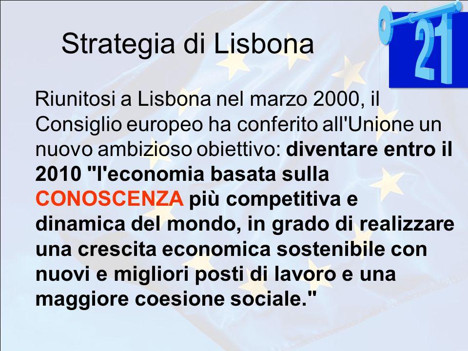 Strategia di Lisbona Riunitosi a Lisbona nel marzo 2000, il Consiglio europeo ha conferito all Unione un nuovo ambizioso obiettivo: diventare entro il 2010 l economia basata sulla CONOSCENZA più competitiva e dinamica del mondo, in grado di realizzare una crescita economica sostenibile con nuovi e migliori posti di lavoro e una maggiore coesione sociale.