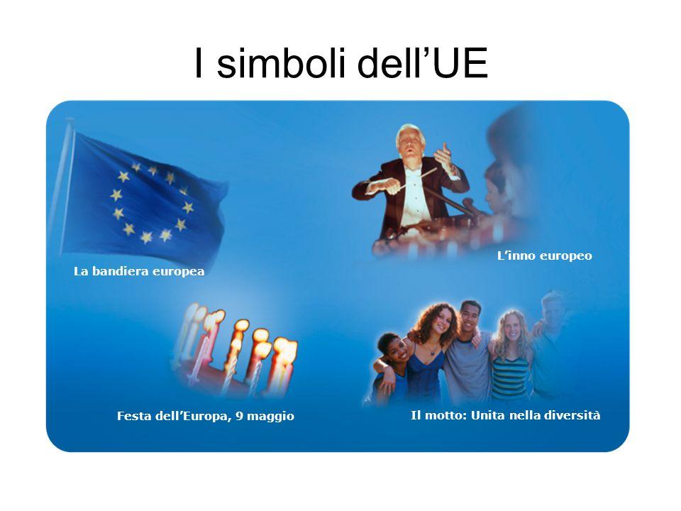 I simboli dell'UE La bandiera europea L'inno europeo Festa dell'Europa, 9 maggio Il motto: Unita nella diversità