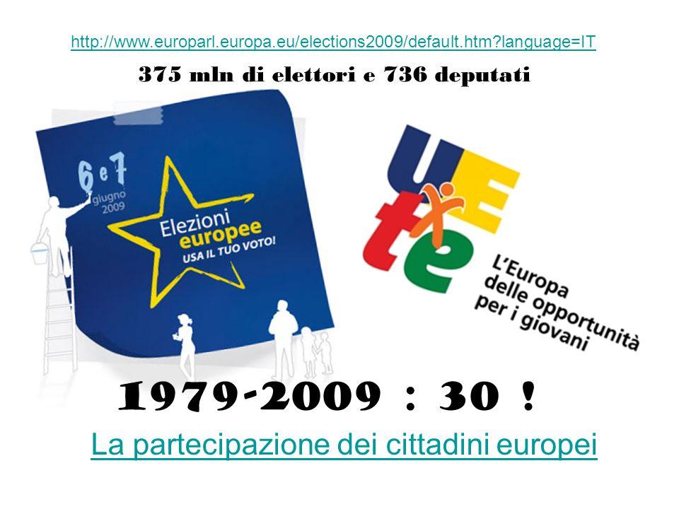 Elezioni EU 2009 http://www.europarl.europa.eu/elections2009/default.htm?language=IT La partecipazione dei cittadini europei 1979-2009 : 30 ! 375 mln