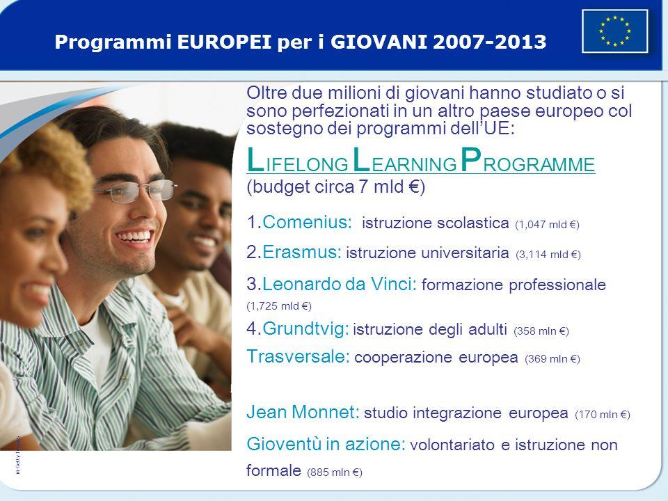 Oltre due milioni di giovani hanno studiato o si sono perfezionati in un altro paese europeo col sostegno dei programmi dell'UE: L IFELONG L EARNING P ROGRAMME L IFELONG L EARNING P ROGRAMME (budget circa 7 mld €) 1.Comenius: istruzione scolastica (1,047 mld €) 2.Erasmus: istruzione universitaria (3,114 mld €) 3.Leonardo da Vinci: formazione professionale (1,725 mld €) 4.Grundtvig: istruzione degli adulti (358 mln €) Trasversale: cooperazione europea (369 mln €) Jean Monnet: studio integrazione europea (170 mln €) Gioventù in azione: volontariato e istruzione non formale (885 mln €) © Getty Images Programmi EUROPEI per i GIOVANI 2007-2013
