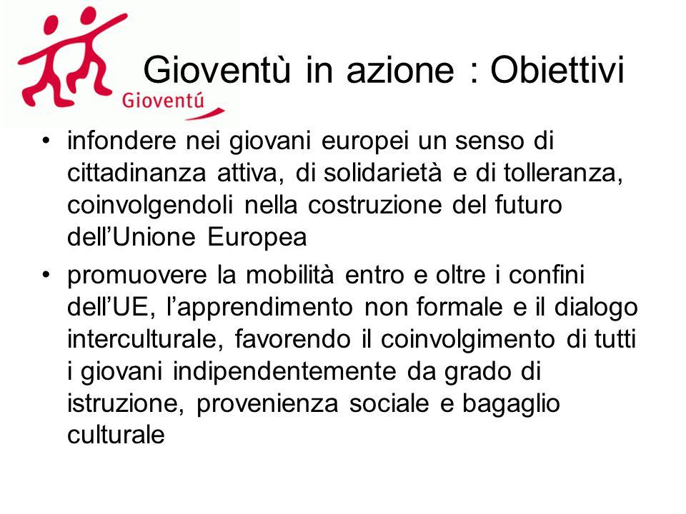 Gioventù in azione : Obiettivi infondere nei giovani europei un senso di cittadinanza attiva, di solidarietà e di tolleranza, coinvolgendoli nella cos