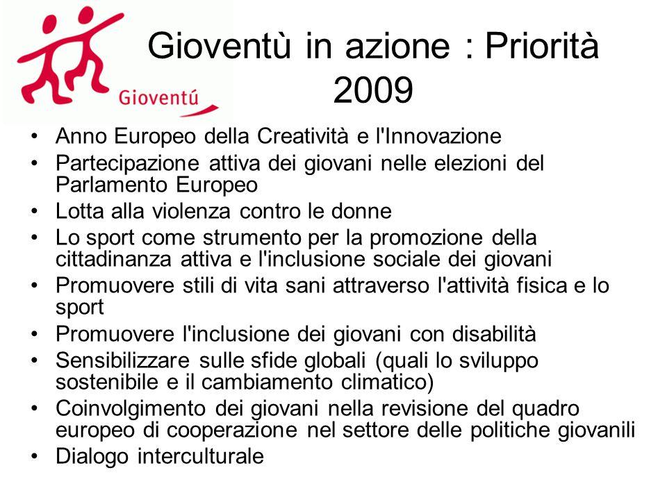 Gioventù in azione : Priorità 2009 Anno Europeo della Creatività e l'Innovazione Partecipazione attiva dei giovani nelle elezioni del Parlamento Europ