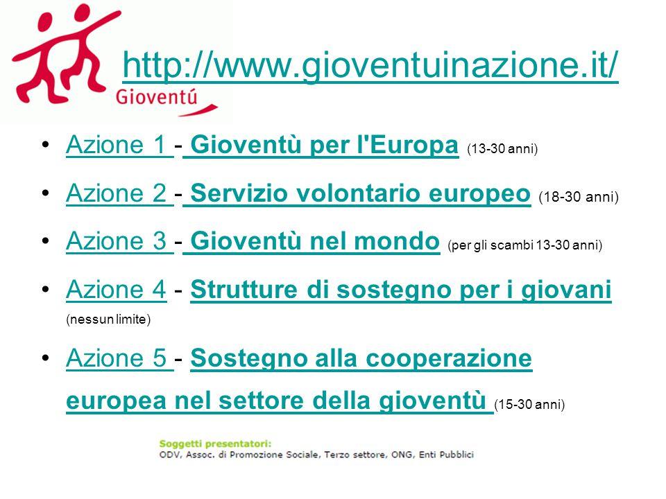 http://www.gioventuinazione.it/ Azione 1 - Gioventù per l'Europa (13-30 anni)Azione 1 Gioventù per l'Europa Azione 2 - Servizio volontario europeo (18