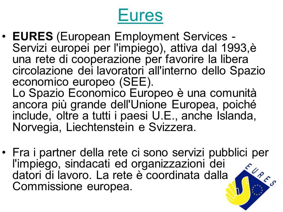 Eures EURES (European Employment Services - Servizi europei per l impiego), attiva dal 1993,è una rete di cooperazione per favorire la libera circolazione dei lavoratori all interno dello Spazio economico europeo (SEE).
