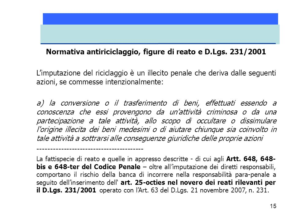 15 Normativa antiriciclaggio, figure di reato e D.Lgs. 231/2001 L'imputazione del riciclaggio è un illecito penale che deriva dalle seguenti azioni, s