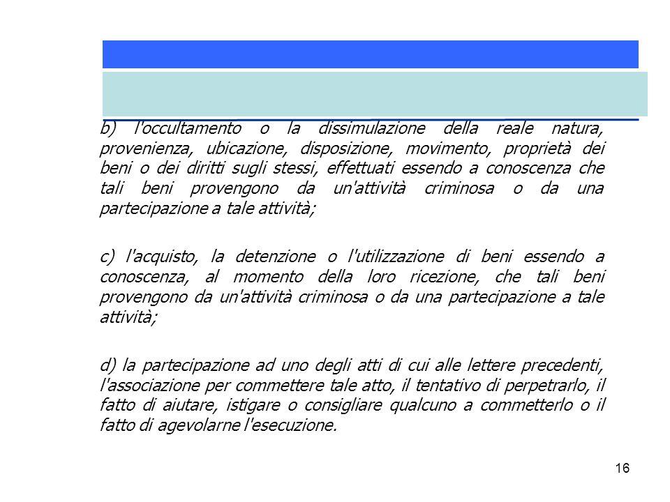 16 b) l'occultamento o la dissimulazione della reale natura, provenienza, ubicazione, disposizione, movimento, proprietà dei beni o dei diritti sugli