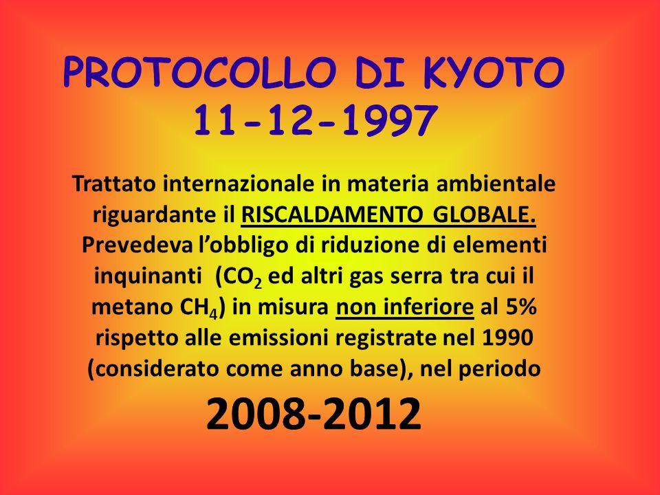 PROTOCOLLO DI KYOTO 11-12-1997 Trattato internazionale in materia ambientale riguardante il RISCALDAMENTO GLOBALE. Prevedeva l'obbligo di riduzione di