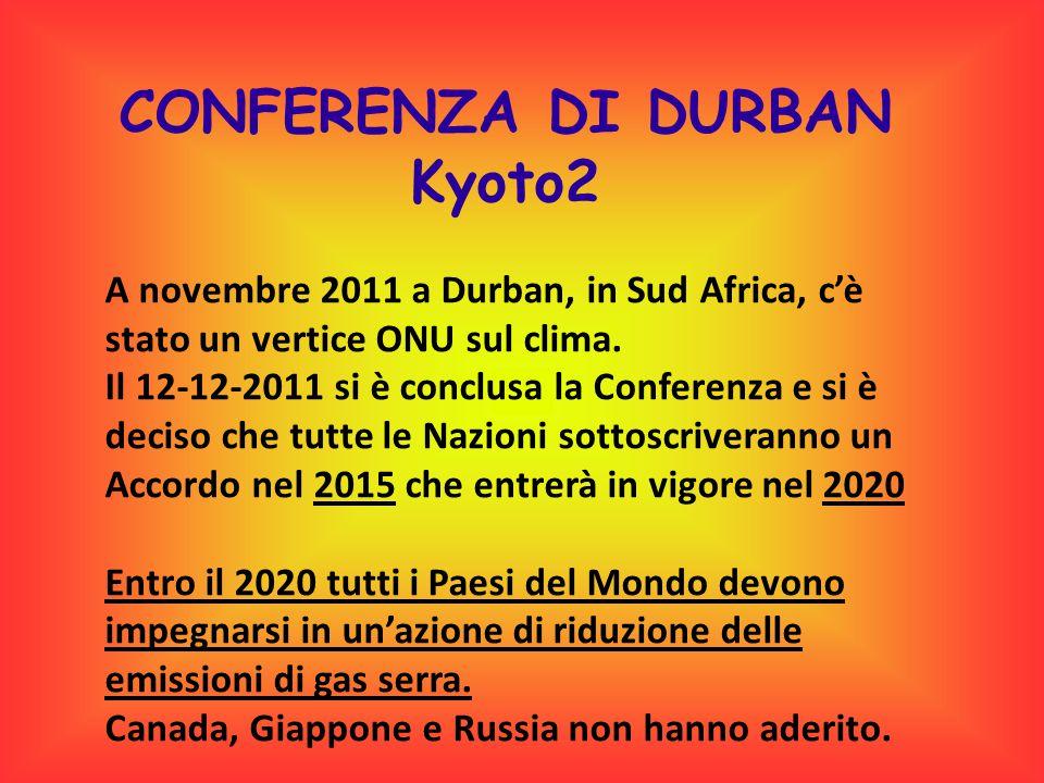 CONFERENZA DI DURBAN Kyoto2 A novembre 2011 a Durban, in Sud Africa, c'è stato un vertice ONU sul clima. Il 12-12-2011 si è conclusa la Conferenza e s