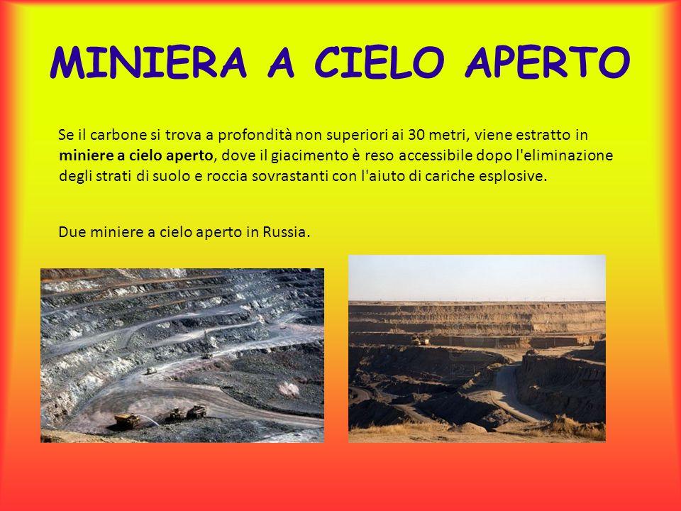 MINIERA A CIELO APERTO Se il carbone si trova a profondità non superiori ai 30 metri, viene estratto in miniere a cielo aperto, dove il giacimento è r